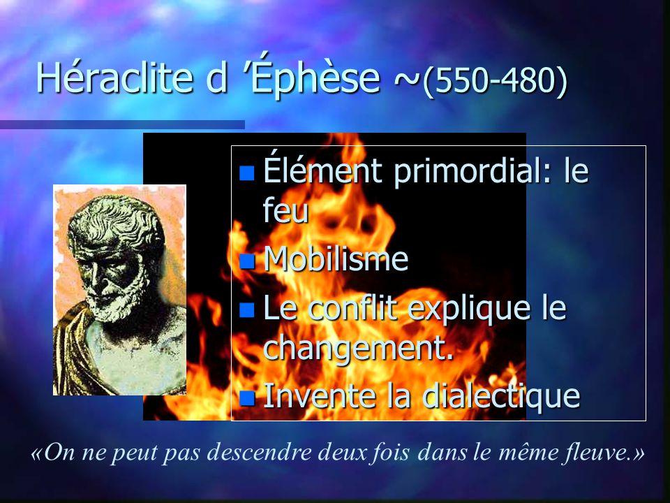 Anaximandre et Anaximène Anaximandre ~(610-546) n Inventeur du gnomon n LApeiron (infini, indéterminé Anaximène (fin VIe) LAir
