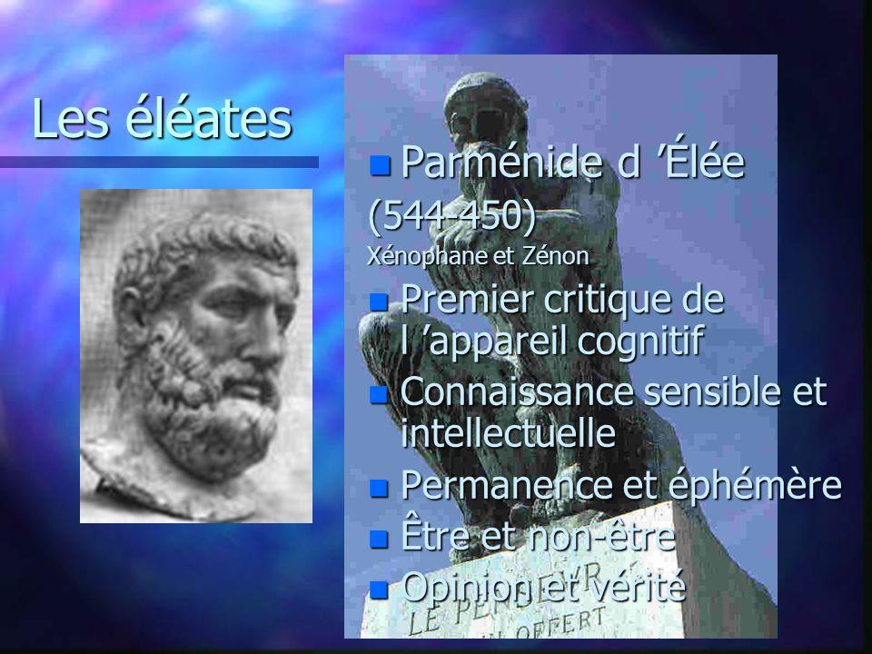 Élément primordial: n Le nombre Conception dualiste: pair et impair, limité et illimité n Société ouverte aux femmes et étrangers n Orphisme n Métempsycose Pythagore de Samos 580-500 ( a2 + b2 = c2 )