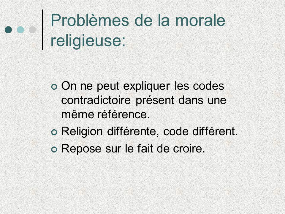 Problèmes de la morale religieuse: On ne peut expliquer les codes contradictoire présent dans une même référence. Religion différente, code différent.