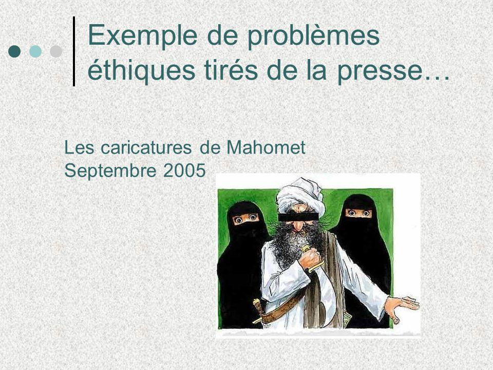 Exemple de problèmes éthiques tirés de la presse… Les caricatures de Mahomet Septembre 2005