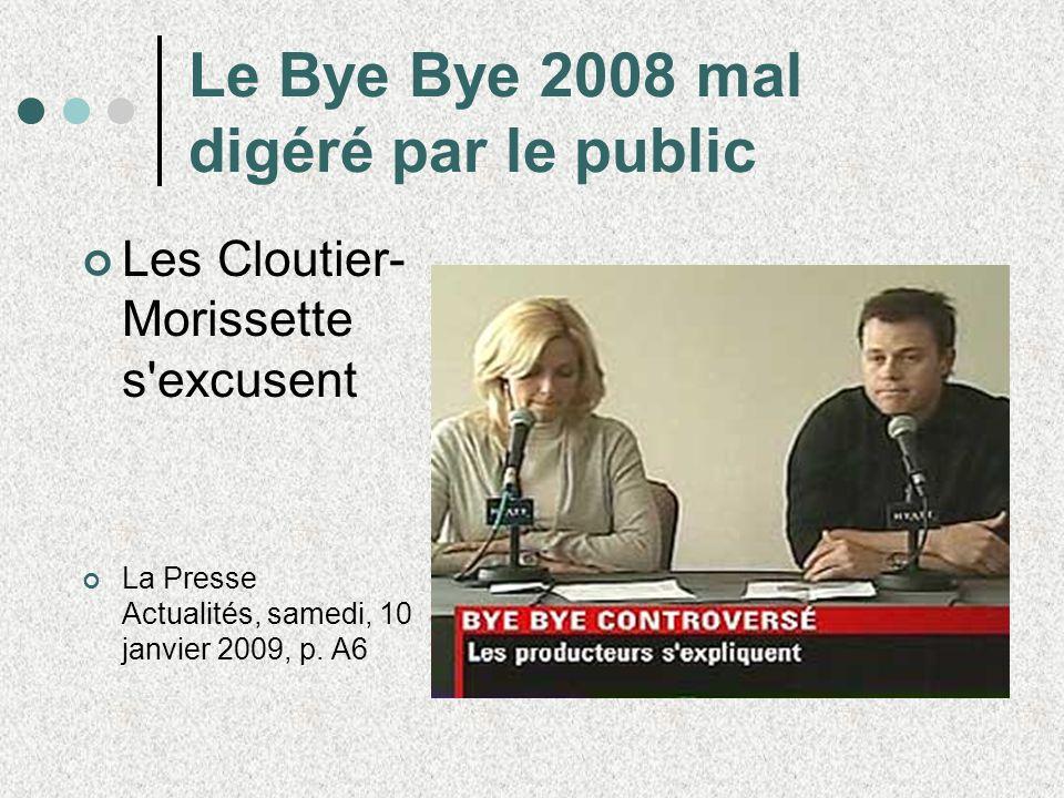Le Bye Bye 2008 mal digéré par le public Les Cloutier- Morissette s'excusent La Presse Actualités, samedi, 10 janvier 2009, p. A6