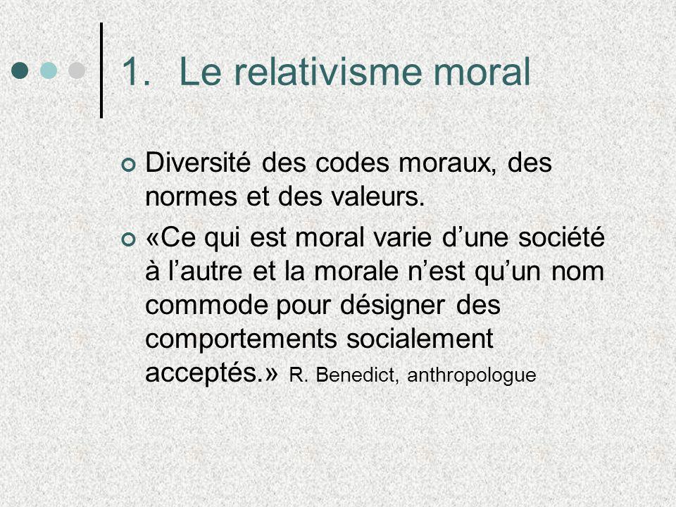1.Le relativisme moral Diversité des codes moraux, des normes et des valeurs. «Ce qui est moral varie dune société à lautre et la morale nest quun nom