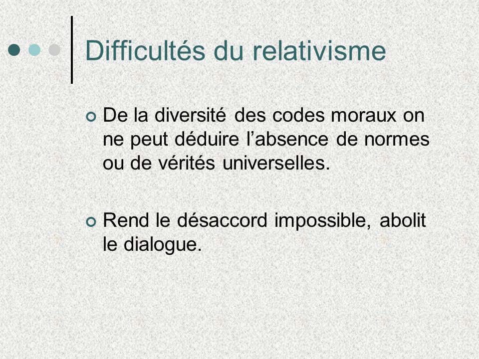 Difficultés du relativisme De la diversité des codes moraux on ne peut déduire labsence de normes ou de vérités universelles. Rend le désaccord imposs