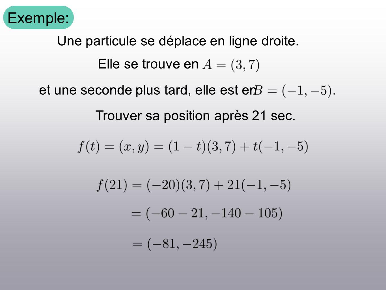 Exemple: Une particule se déplace en ligne droite. Elle se trouve en et une seconde plus tard, elle est en Trouver sa position après 21 sec.