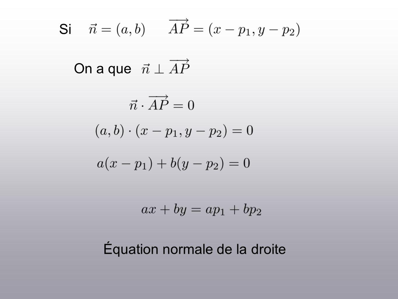 Si On a que Équation normale de la droite