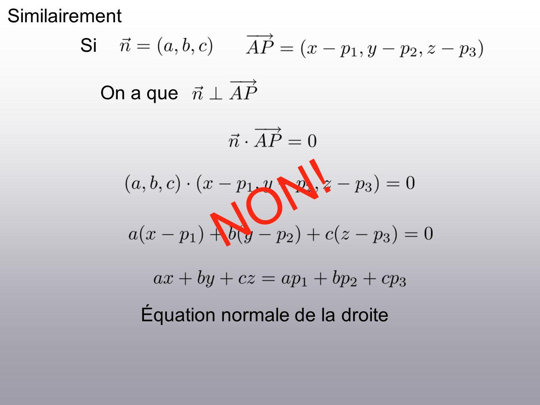 Similairement On a que Équation normale de la droite Si NON!