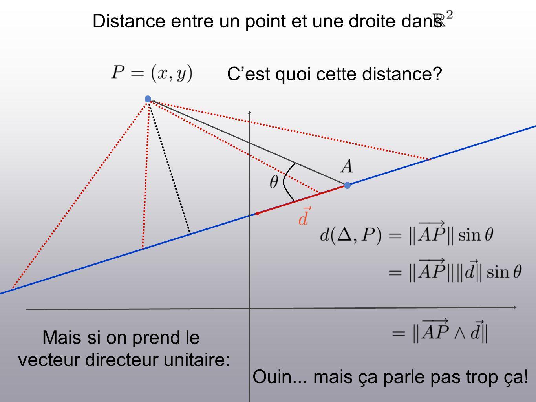 Distance entre un point et une droite dans Cest quoi cette distance? Mais si on prend le vecteur directeur unitaire: Ouin... mais ça parle pas trop ça