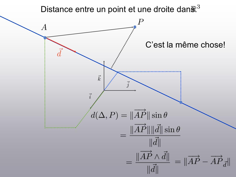 Distance entre un point et une droite dans Cest la même chose!