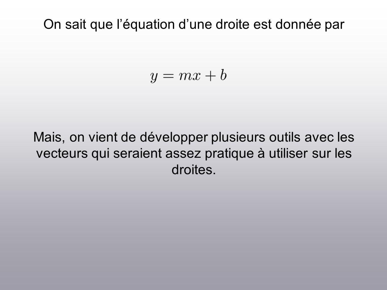On sait que léquation dune droite est donnée par Mais, on vient de développer plusieurs outils avec les vecteurs qui seraient assez pratique à utilise