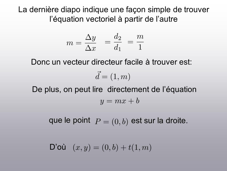 La dernière diapo indique une façon simple de trouver léquation vectoriel à partir de lautre Donc un vecteur directeur facile à trouver est: De plus,