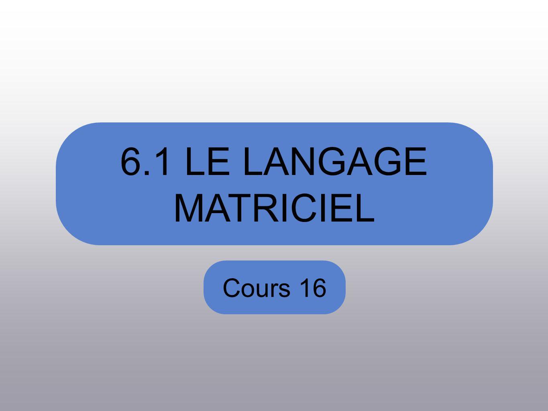 6.1 LE LANGAGE MATRICIEL Cours 16