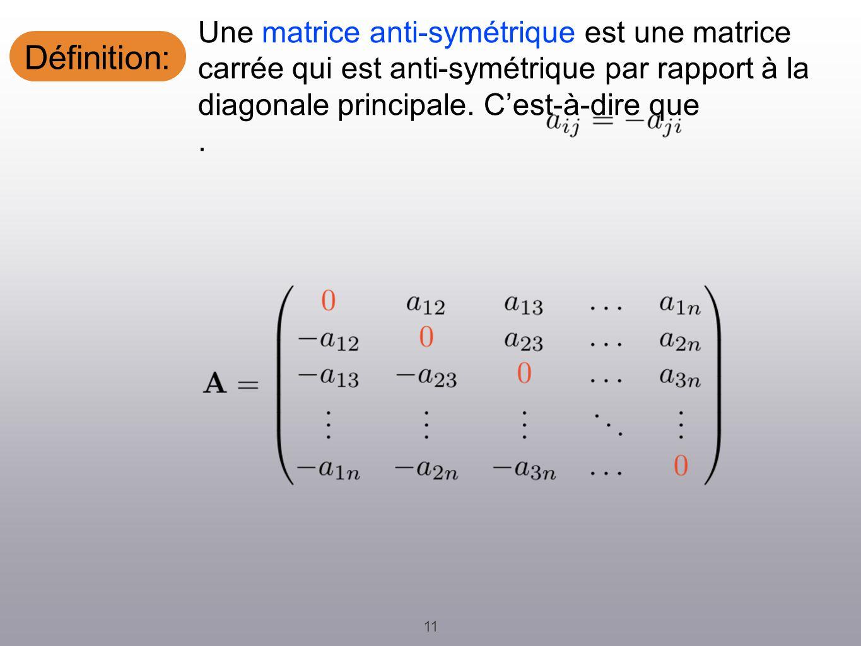 Définition: 11 Une matrice anti-symétrique est une matrice carrée qui est anti-symétrique par rapport à la diagonale principale.