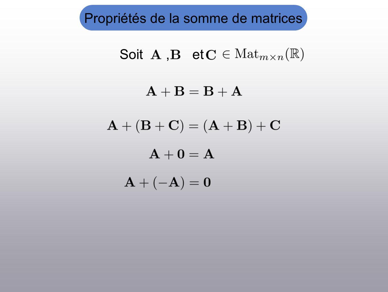 Propriétés de la somme de matrices Soit, et