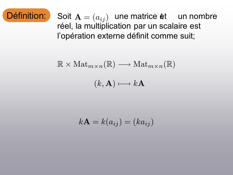 Définition: Soit une matrice et un nombre réel, la multiplication par un scalaire est lopération externe définit comme suit;