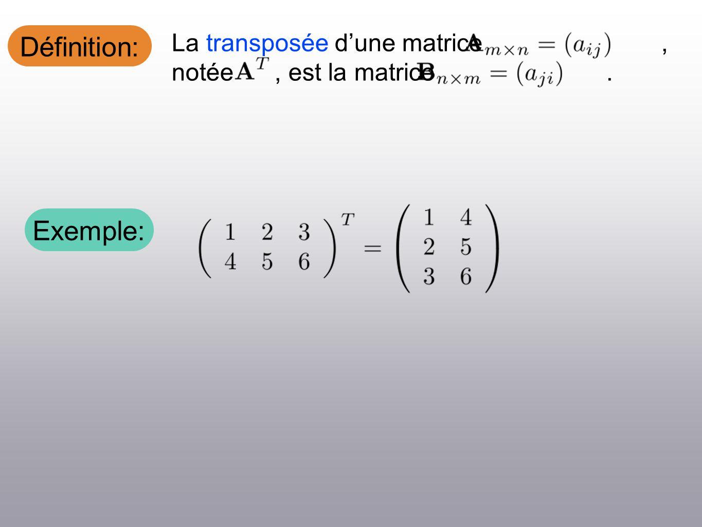 Définition: La transposée dune matrice, notée, est la matrice. Exemple: