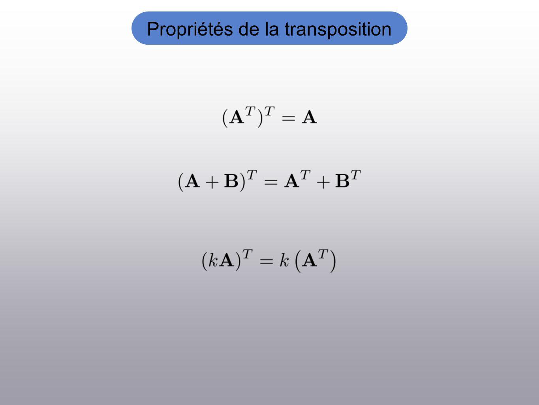 Propriétés de la transposition