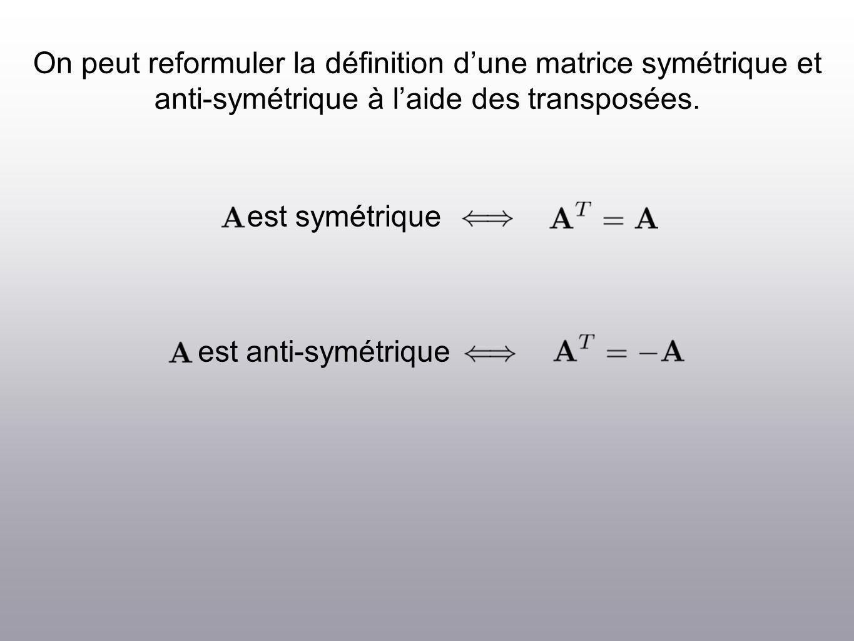 On peut reformuler la définition dune matrice symétrique et anti-symétrique à laide des transposées.