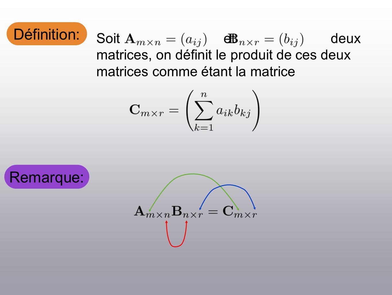 Définition: Soit et deux matrices, on définit le produit de ces deux matrices comme étant la matrice Remarque: