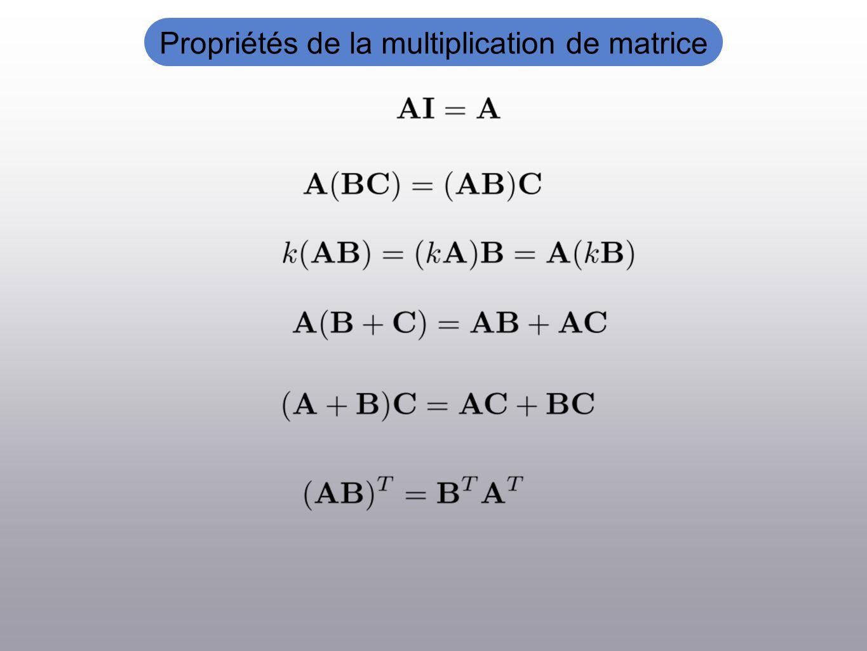 Propriétés de la multiplication de matrice