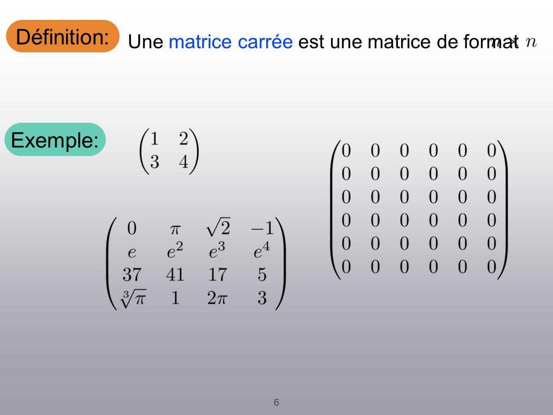 Définition: 6 Une matrice carrée est une matrice de format. Exemple: