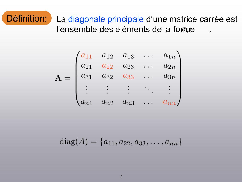 Définition: 7 La diagonale principale dune matrice carrée est lensemble des éléments de la forme.