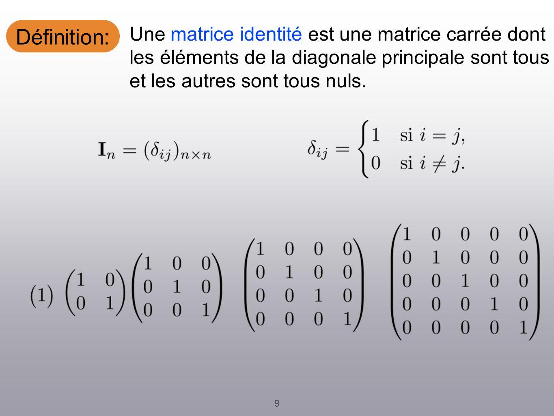 Définition: 9 Une matrice identité est une matrice carrée dont les éléments de la diagonale principale sont tous 1 et les autres sont tous nuls.