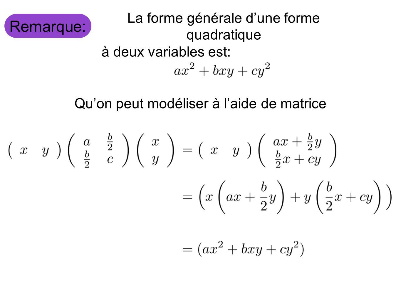Remarque: La forme générale dune forme quadratique à deux variables est: Quon peut modéliser à laide de matrice