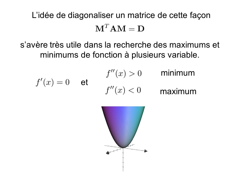 Lidée de diagonaliser un matrice de cette façon savère très utile dans la recherche des maximums et minimums de fonction à plusieurs variable.