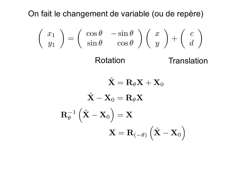 On fait le changement de variable (ou de repère) Rotation Translation