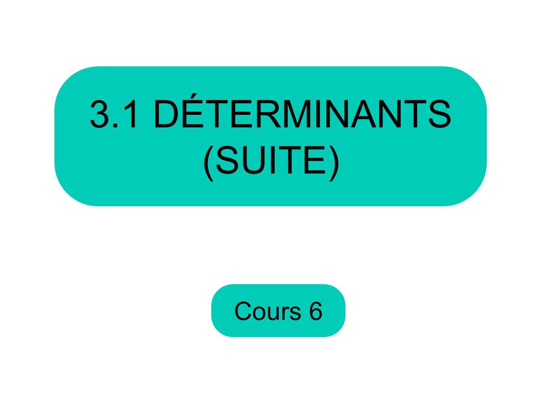 Cours 6 3.1 DÉTERMINANTS (SUITE)