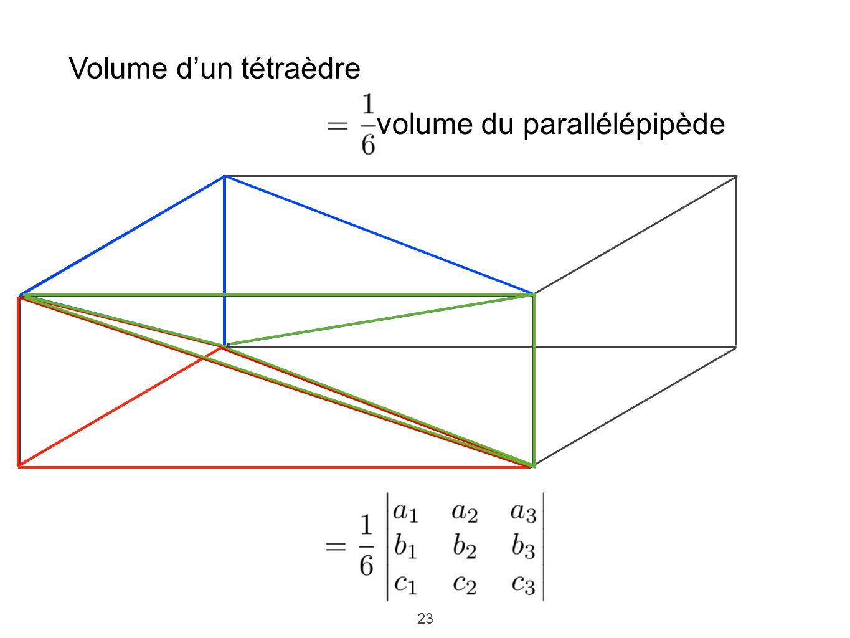 23 Volume dun tétraèdre volume du parallélépipède