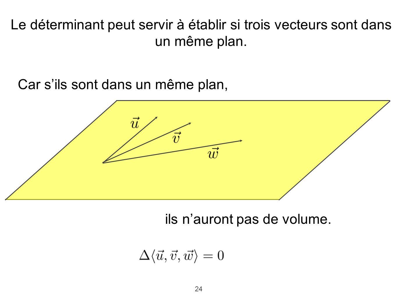 24 Le déterminant peut servir à établir si trois vecteurs sont dans un même plan. Car sils sont dans un même plan, ils nauront pas de volume.