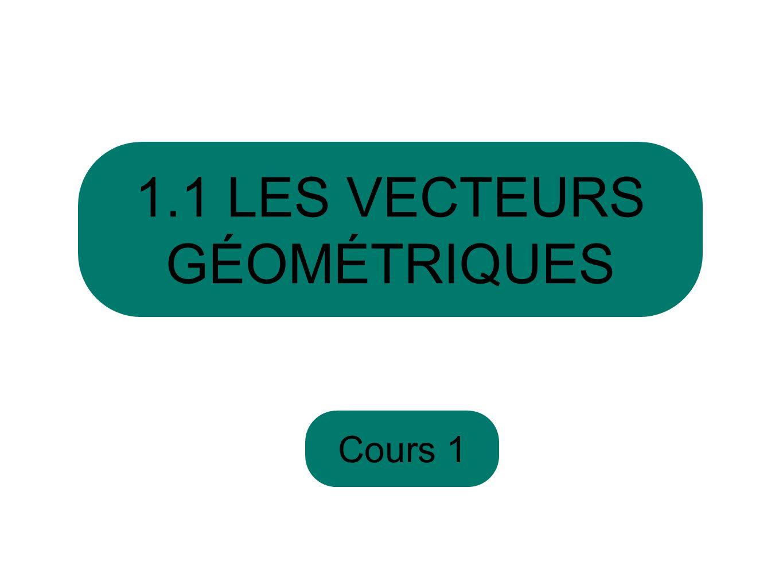 Cours 1 1.1 LES VECTEURS GÉOMÉTRIQUES