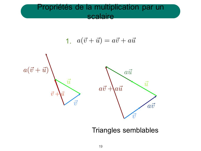 19 1. Propriétés de la multiplication par un scalaire Triangles semblables