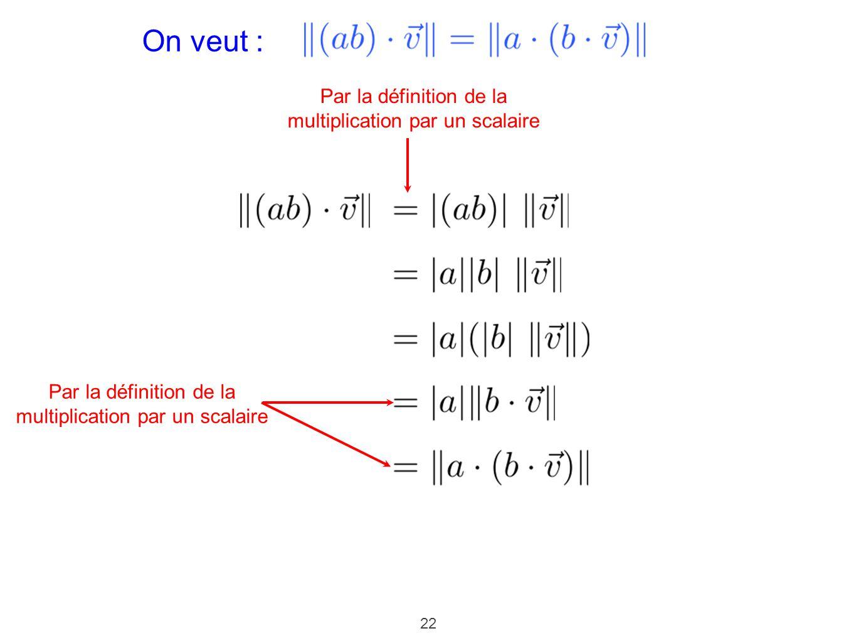 22 On veut : Par la définition de la multiplication par un scalaire Par la définition de la multiplication par un scalaire
