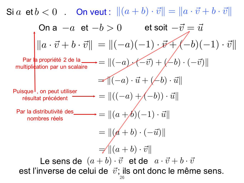 26 On a et Si et. et soit Puisque, on peut utiliser résultat précédent Par la distributivité des nombres réels Par la propriété 2 de la multiplication