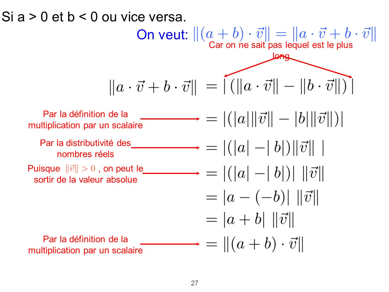 27 Si a > 0 et b < 0 ou vice versa. Car on ne sait pas lequel est le plus long Par la définition de la multiplication par un scalaire Par la distribut