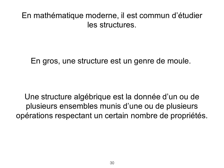 30 En mathématique moderne, il est commun détudier les structures. En gros, une structure est un genre de moule. Une structure algébrique est la donné