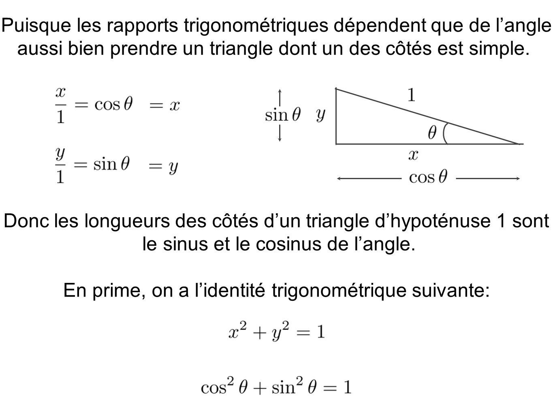 Puisque les rapports trigonométriques dépendent que de langle aussi bien prendre un triangle dont un des côtés est simple. En prime, on a lidentité tr