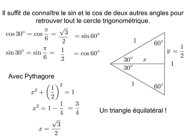 Il suffit de connaître le sin et le cos de deux autres angles pour retrouver tout le cercle trigonométrique. Avec Pythagore Un triangle équilatéral !