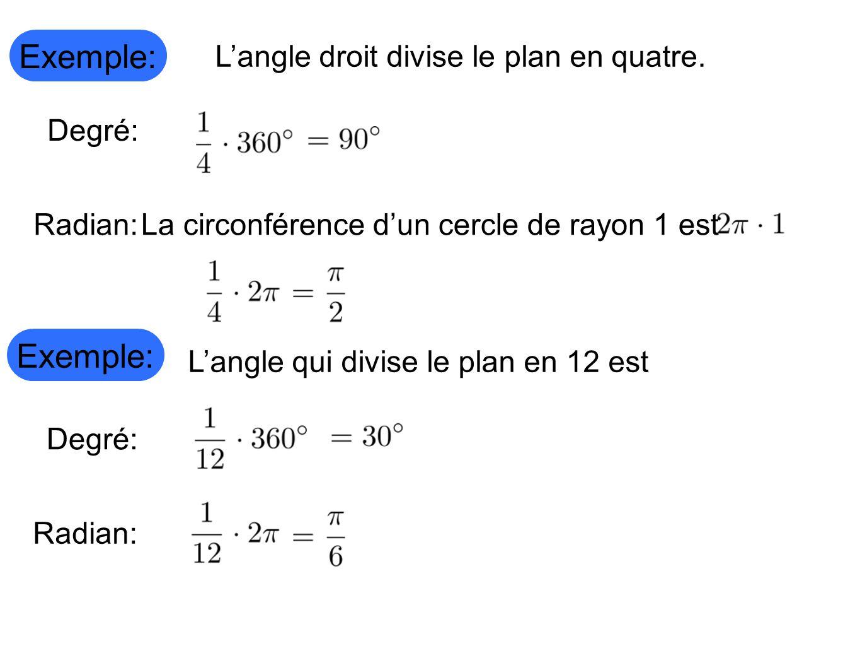 Exemple: Langle droit divise le plan en quatre. Degré: Radian:La circonférence dun cercle de rayon 1 est Langle qui divise le plan en 12 est Degré: Ra