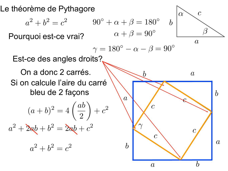 Le théorème de Pythagore Pourquoi est-ce vrai? Est-ce des angles droits? On a donc 2 carrés. Si on calcule laire du carré bleu de 2 façons