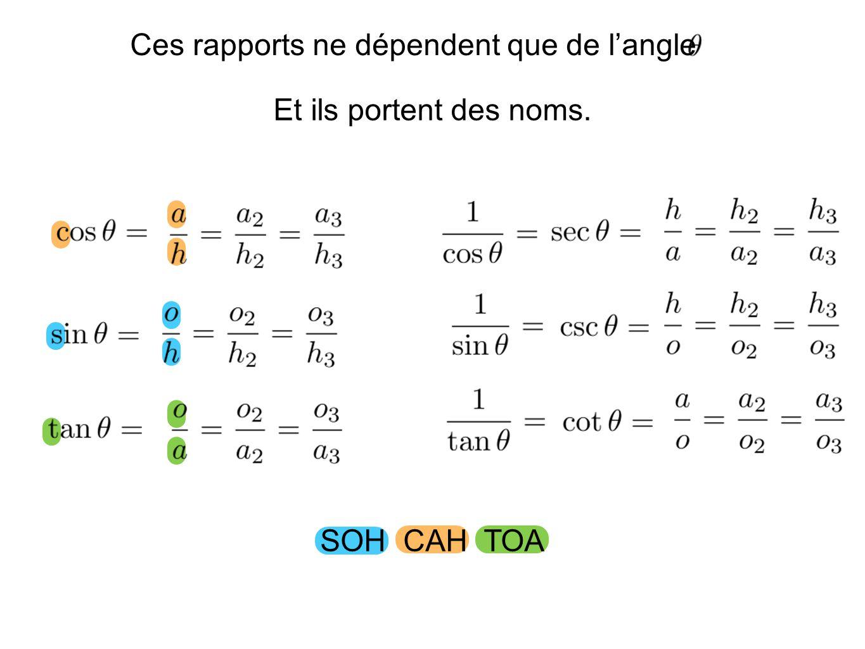 Puisque les rapports trigonométriques dépendent que de langle aussi bien prendre un triangle dont un des côtés est simple.