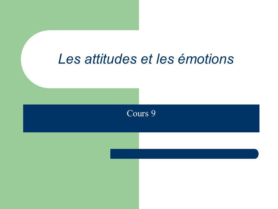 Une définition : Une attitude est une prédisposition apprise à réagir de façon favorable ou défavorable à un objet ou une classe dobjets.