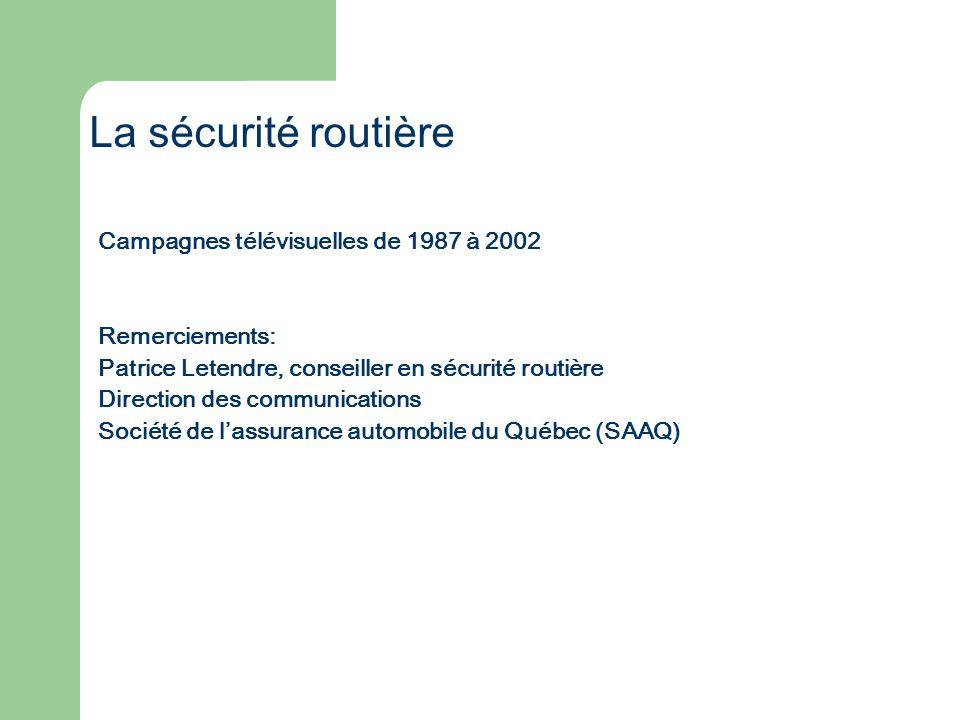 Campagnes télévisuelles de 1987 à 2002 Remerciements: Patrice Letendre, conseiller en sécurité routière Direction des communications Société de lassur