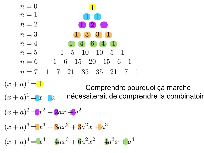 Comprendre pourquoi ça marche nécessiterait de comprendre la combinatoire.
