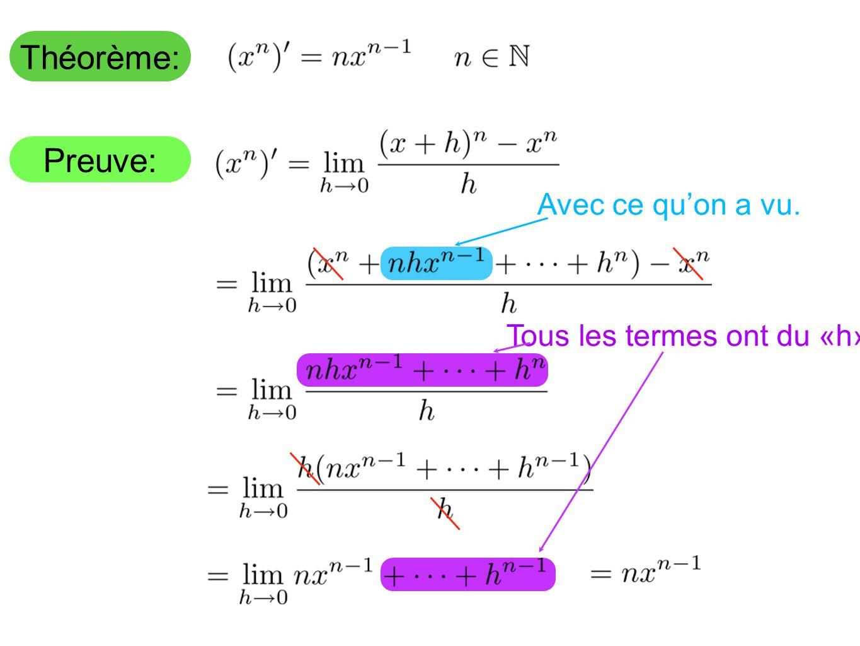 Théorème: Preuve: Tous les termes ont du «h» Avec ce quon a vu.