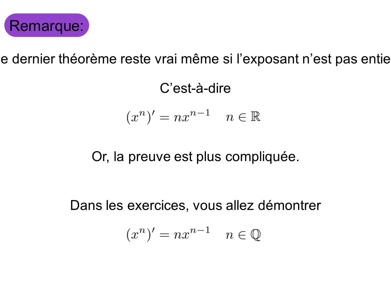 Remarque: Le dernier théorème reste vrai même si lexposant nest pas entier. Cest-à-dire Or, la preuve est plus compliquée. Dans les exercices, vous al