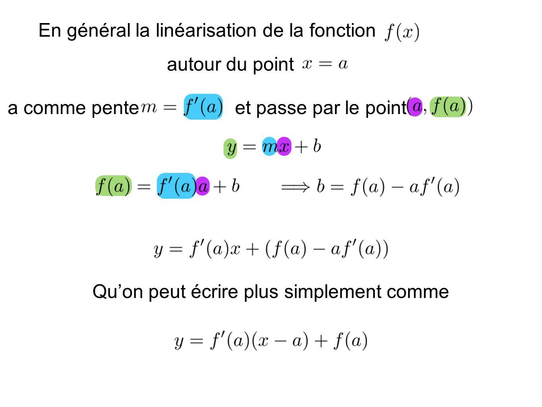 En général la linéarisation de la fonction autour du point a comme penteet passe par le point Quon peut écrire plus simplement comme