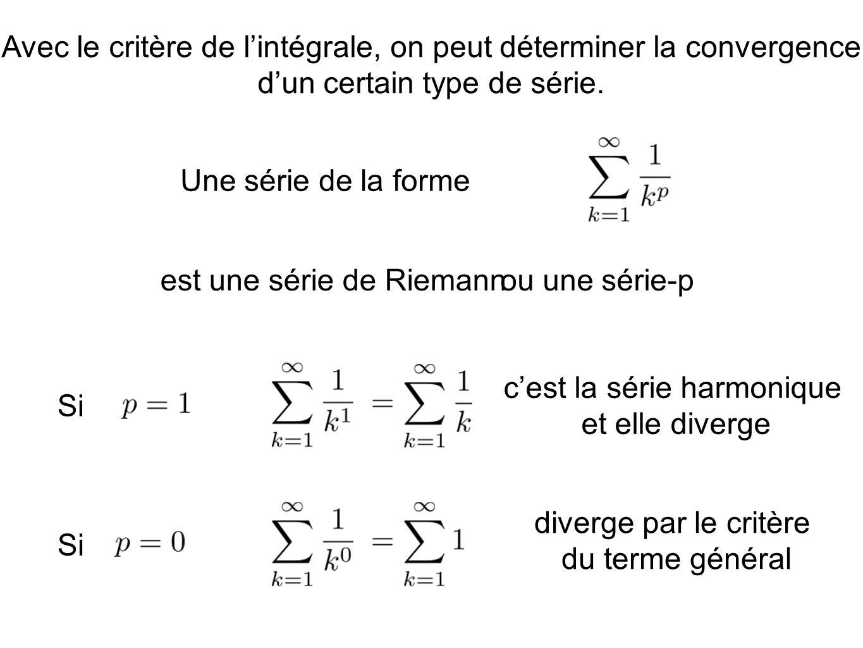 Avec le critère de lintégrale, on peut déterminer la convergence dun certain type de série. Une série de la forme est une série de Riemannou une série